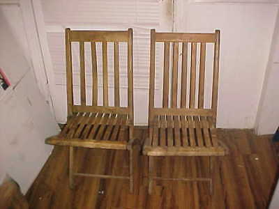 Antique Vintage Pair Of CVRR Cumberland Valley Railroad Wooden Folding Chairs