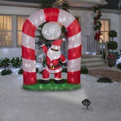 8ft christmas lighted animated airblown disco santa scene yard inflatable decor - Animated Christmas Scene Decorations