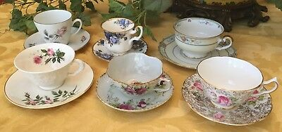 Vintage China Floral Tea Cups and Saucers Lot of 6 Sets Made in England Bavaria
