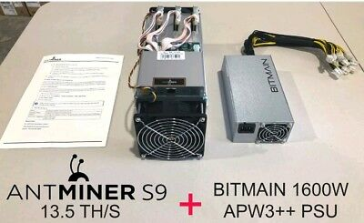 Bitmain Antminer S9  13.5 TH/s with APW3++ PSU IN HAND Ships Immediately