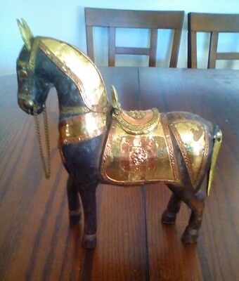 Brass and Wood Carved Horse