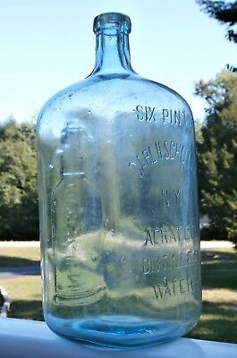 Antique CARL H. SCHULTZ AERATED DISTILLED WATER SIX PINTS Pictorial Water Bottle
