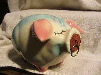 vintage H. P. Co Corky Pig piggy bank 1957 Hull Pottery pink baby blue Pat. Pend