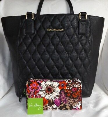 VERA BRADLEY Nice Black Quilted Leather Satchel Large Tote & NWT Rosewood Wallet