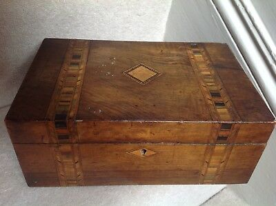 Vintage Decorative Hinged Wooden Box With Inlay