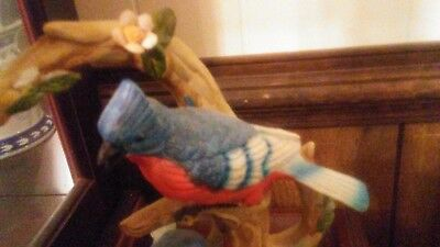 "Beautiful Blue Jay 10"" Height on 5""plate Figurine Sculpture Statue"