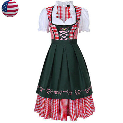 Oktoberfest Beer Girl Costume German Bavarian Tradition Dirndl Dress With Apron