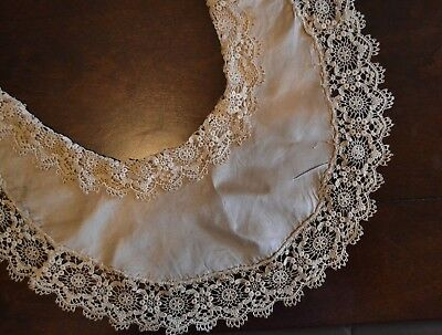 Antique Silk Collar With Ornate Lace Trim For French Fashion Doll Clothes Hndmde