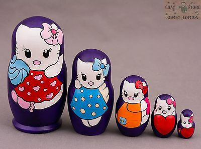 "Big Russian Matryoshka Wooden Nesting Dolls /""Hello Kitty/"" 5 pcs hand painted #76"