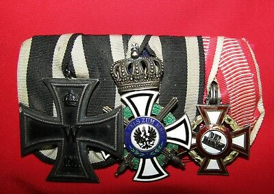 Wwi Imperial German Prussian 3 Medal Bar- House Order Of Hohenzollern Iron Cross