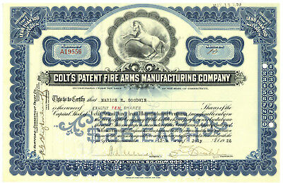 Colt' s Patent Fire Arms Manufacturing Company. Stock Certificate