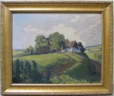 JAN HONSA Vintage Original Oil Listed Czech Artist Countryside Cottage Landscape
