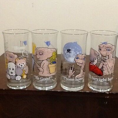 Four Vintage E.t. Drinking Glasses Pizza Hut  Limited Edition 1982
