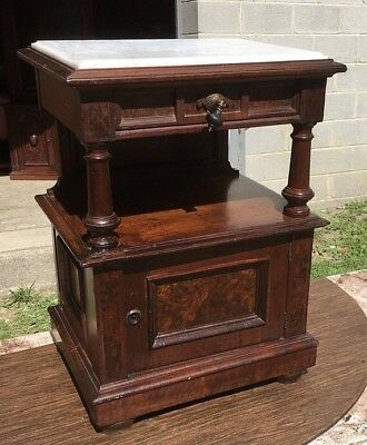 Walnut Marble Top 1/2 Commode