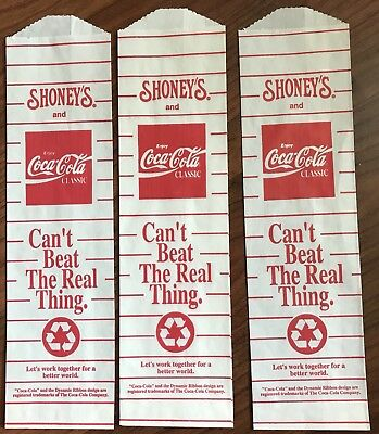 Rare Vintage Coca Cola Lot Of 3 Bags Shoney's Advertising