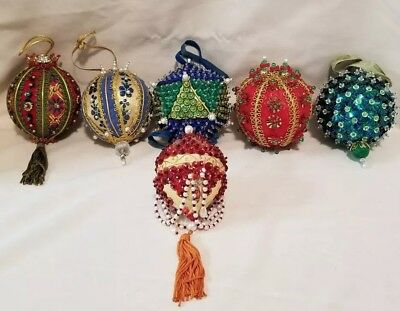 LOT of 6 Vintage Handcrafted Christmas Ornaments Tree Decorations Beautiful!!
