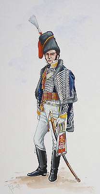 Original Military Watercolour Painting - Officer 10Th Light Dragoons - 1805