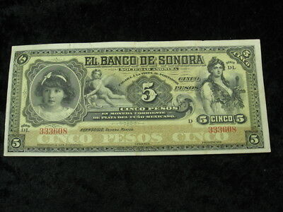 """1 old world currency note MEXICO SONORA 5 pesos 1912 La Azteca """"little girl"""""""