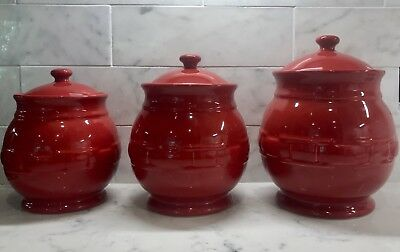 RETIRED MINT Longaberger Red Canister Set Pre-owned DEAL!!!!