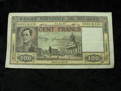 1 old world foreign currency note BELGIUM 100 francs 1945 P126 Leopold I
