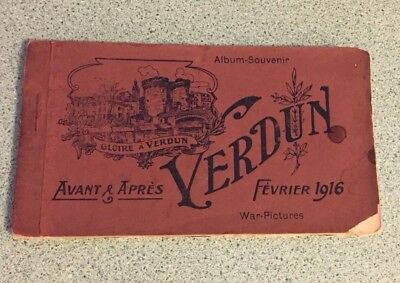 Rare Vintage Antique 20 Postcard Book Verdun Ruins World War I 1916 French