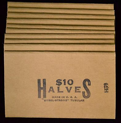 Vintage 10pc Lot Steel-Strong Tubular $10 Halves Coin Wrappers - New old-stock