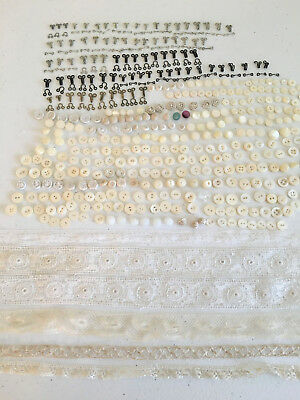 Antique Lace Buttons Hooks Eyes MOP China Bobbin Crochet Tatted Glass MOP Doll