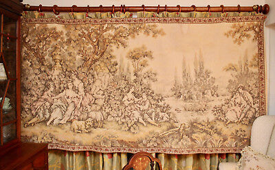 """A Spectacular & Massive Vintage Aubusson Verdure French Wall Tapestry 101 x 52"""""""""""