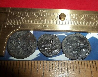 Ancient Roman AE Coins Follis 1/2 inch, 5+grams / Lot of 3x Rare Roman coins