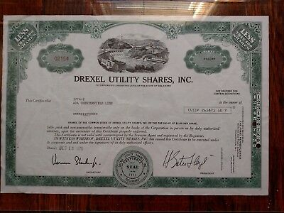 Stock Certificate Drexel Utility 60 shares corporation business