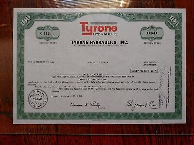 Stock Certificate Tyrone Hydraulics 100 shares corporation business