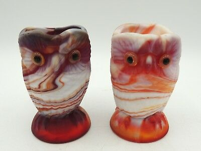 Imperial Slag Glass Owl Creamer and Sugar Ruby Red Mid Century End of Day