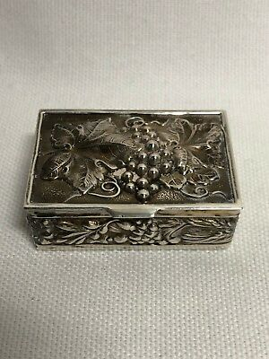 Portugal Sterling Silver Grape Vine Pill / Trinket Box