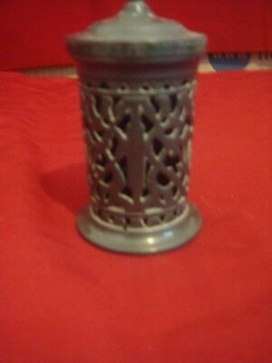 Rare Table Middle Eastern Peperette Or Spice Shaker In A Dark Metal Blue Liner