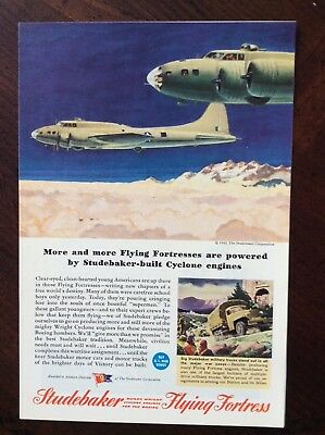 1943 vintage Original color print ad Studebaker Flying Fortress WWII theme