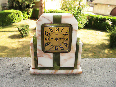 Superb antique table clock alarm clock DEP vintage Art Deco Marble and onyx