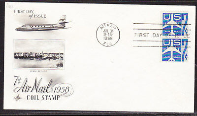 "USA ""Artcraft"" 1958 - 7c Airmail Coils  Pair  First Day Cover"