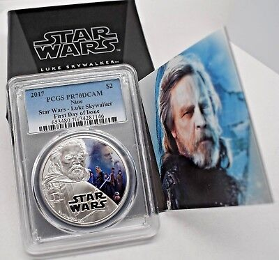 2017 STAR WARS LUKE SKYWALKER 1oz SILVER COIN PCGS PR70DCAM FDI NIUE BOX & COA