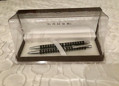 Cross Black Lacquer & Silver Ballpoint Pen and 0.7mm Pencil Set New In Box
