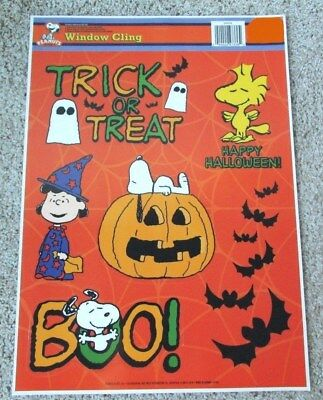 peanuts snoopy lucy woodstock halloween window cling sheet set of 6 orange new
