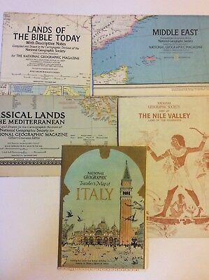 Lot of 5 Vintage National Geographic Society Maps