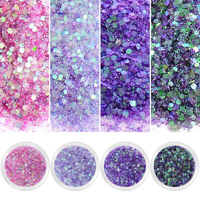 4 Boxes Nail Art Sequins Glitter Sheets Tips Mixed Powder Manicure DIY 10ml Wsel