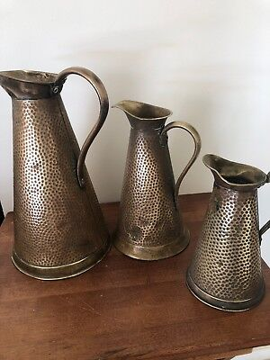 3 X VINTAGE Joseph Sankey JS&S Crocodile Effect BRASS WATER JUG Pitcher #1 2 4