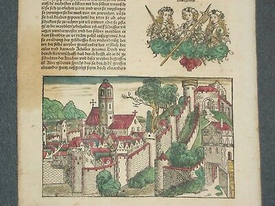 RARE Hand-Painted Nuremberg Chronicle Incunabula Schedel Leaf, Page XIX, 1493