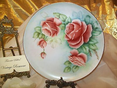 "Hand Painted Plate Decorative Collectible ROSES w Gold Gilt Trim 10.25"" Signed"