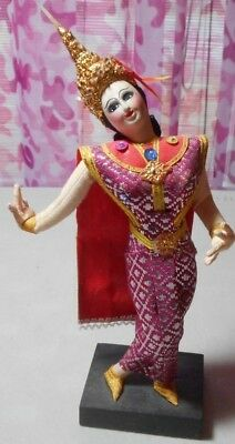 Vintage - Thailand - Dancer -  Woman on wood stand
