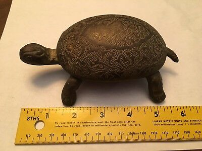 Nicely Engraved Vintage Or Antique Brass Turtle Trinket Box