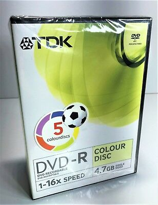 Set Of 5 Tdk Recordable Dvd-R Blank Dvd's Brand New 4.7Gb 1-16 Speed