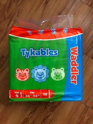 "TYKABLES - Waddlers Size 2 (36""-48"") Diapers - Pack of 10 - DISCREET SHIPPING"