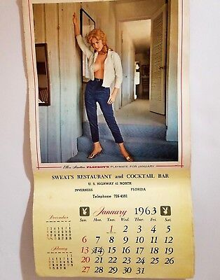 Vintage Advertising Pinup Calendar 1963 Playboy Playmates Tina Louise Highway 41